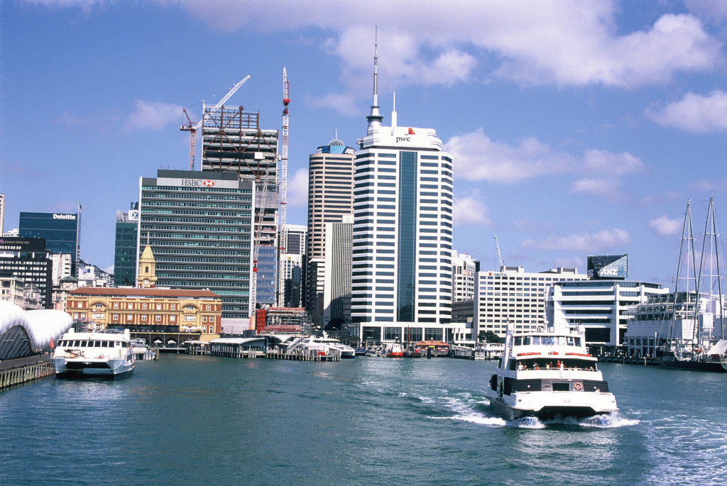 The ferry terminal and HSBC building.