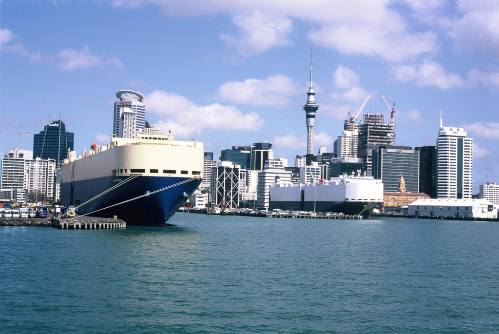 Ship in Auckland Harbour.