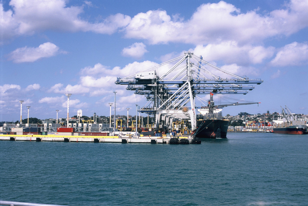 Ship and cranes at Auckland Harbour.